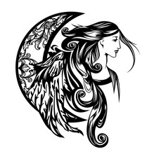 Beautiful Winged Woman With Long Hair - Art Nouveau Style Angel And Crescent Moon Vector Portrait