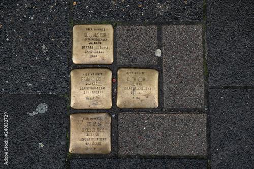 Gedenksteine der Judendeportation, Münster, Westfalen, Deutschland Canvas Print