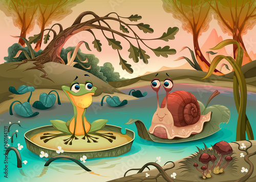 Poster Kinderkamer Friendship between frog and snail.