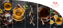 Photo Collage Tea And Tea Leaves. Top View.
