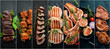 Leinwandbild Motiv Collage. Steak and meat on a black background. Top view.