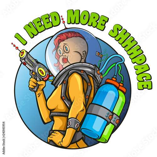 """""""I need more shhhpace"""" funny poster Wallpaper Mural"""