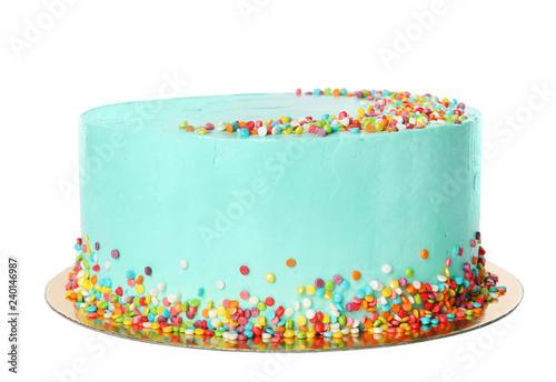 Canvastavla Fresh delicious birthday cake on white background