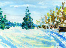 Christmas Tree In The Landscape. Sunny Winter Day. Spruce Grows On The Field In The Middle Of The Forest. Oil Painting