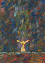 A Man Stands In The Middle Of A Field At Night And Pray To God, Raising His Hands To The Sky. From The Sky Comes A Slight Glow. Oil Painting