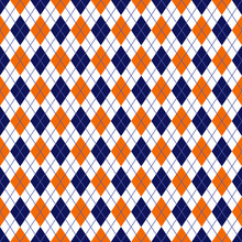 Orange And Navy Argyle Seamles...