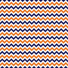 Orange And Navy Chevron Seamless Pattern - Orange, White, And Navy Blue Zig Zag Chevron Design