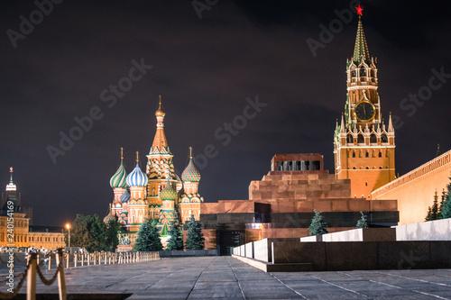 Tuinposter Aziatische Plekken Basilius Kathedrale, Lenin Mausoleum und Erlöserturm am Roten Platz in Moskau