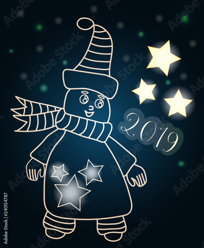 Cute ice man with 2019 number and lighting star for greeting card and other desi Poster Mural XXL