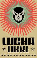 Lucha Libre, Wrestling Spanish Text Mexican Wrestler Mask Silkscreen Style Poster