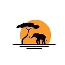 Elephant Silhouette And Tree I...