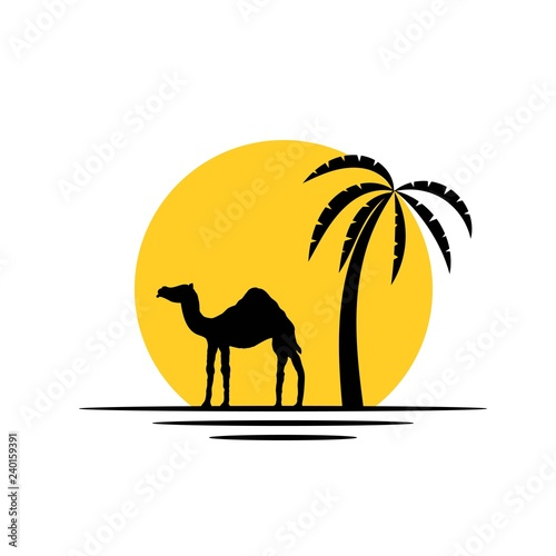 Camel and Palm Tree in the Sunshine Silhouette Icon Wall mural