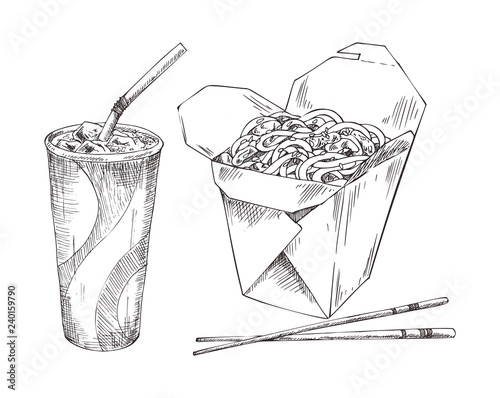 Noodles in Box and Paper Cup Drink Sketch Icon Set Canvas Print