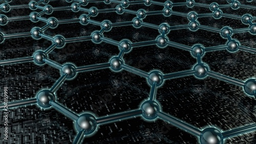 3D illustration of a glowing crystal lattice of graphene, carbon molecule, superconductor, material of the future, on a dark background. The idea of nanotechnology. 3D rendering