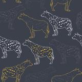 Hiena wektorowy bezszwowy wzór - 240160901