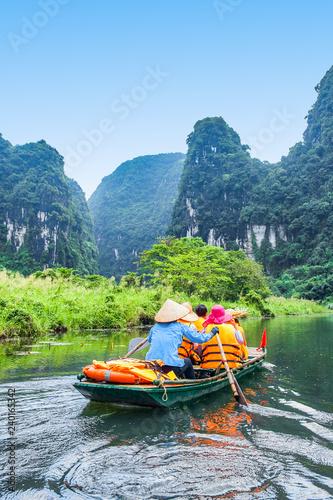 Trang An rowboat with beautiful mountains view, Ninh Binh, Vietnam