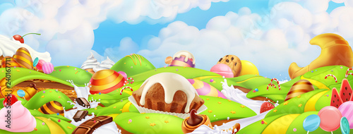 Canvastavla Sweet candy land. Panorama landscape, vector background
