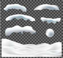 Vector Collection Of Snow Caps, Pile, Icicles, Ice, Snowball And Snowdrift Isolated On Transparent Background. 3d Winter Decorations, Christmas, Snow Texture, White Elements, Holiday Design