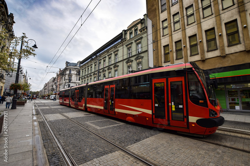 Wall Murals Photo of the day Tram on the Rynek square, the centre of Katowice