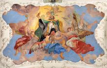 PRAGUE, CZECH REPUBLIC - OCTOBER 12, 2018: The Baroque Ceilinig Fresco Of St. Augustine Among The Angels In Church Kostel Svatého Tomáše By Václav Vavřinec Reiner (1689 - 1743).