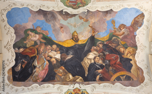 PRAGUE, CZECH REPUBLIC - OCTOBER 12, 2018: The baroque ceilinig fresco of St. Augustine among the saints in church kostel Svatého Tomáše by Václav Vavřinec Reiner (1689 - 1743).
