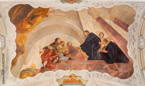 PRAGUE, CZECH REPUBLIC - OCTOBER 12, 2018: The baroque ceilinig fresco of St. Augustine at the discuss in church kostel Svatého Tomáše by Václav Vavřinec Reiner (1689 - 1743).