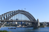 Sydney Harbour Bridge as viewed from a high vantage point at dawn.