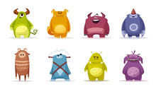 Set Of Funny Cute Monsters. Cartoon Vector Illustration