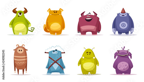Canvastavla Set of funny cute monsters. Cartoon vector illustration