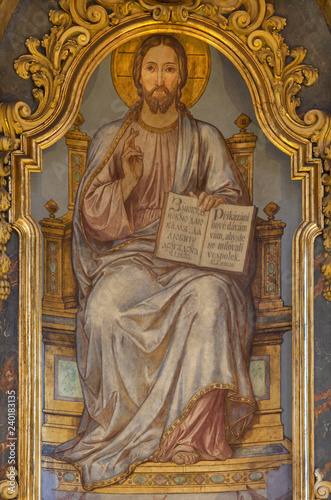 PRAGUE, CZECH REPUBLIC - OCTOBER 13, 2018: The painting of Jesus the Teacher on the main altar of church Kostel Svatého Mikuláše on the Staroměstské square (begin of 20. cent.)