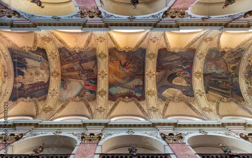 PRAGUE, CZECH REPUBLIC - OCTOBER 18, 2018: The ceiling frescoes from live of Virgin mary in church Bazilika Svatého Jakuba Většího (James the Greater) by František Voget (1736).