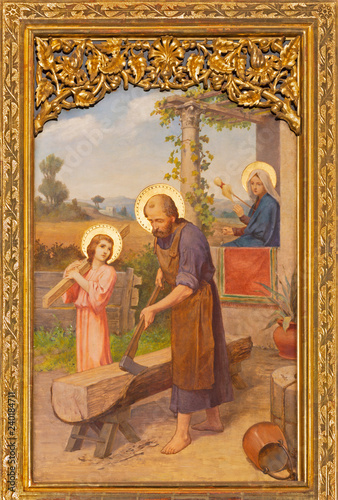 PRAGUE, CZECH REPUBLIC - OCTOBER 12, 2018: The painting of Holy Family in church Bazilika svatého Petra a Pavla na Vyšehrade by S. G. Rudl (1895).