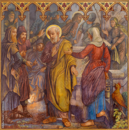 PRAGUE, CZECH REPUBLIC - OCTOBER 15, 2018: The fresco of The Peter Disowns Jesus in church Bazilika svatého Petra a Pavla na Vyšehrade by S. G. Rudl (1895).