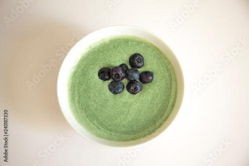 Fotografie, Obraz  Spirulina algae bowl smoothie with yogurt blend