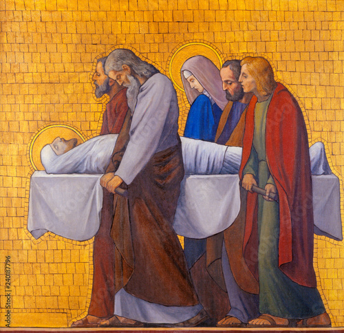 PRAGUE, CZECH REPUBLIC - OCTOBER 17, 2018: The painting of Burial of Jesus (cross way station) in the church kostel Svatého Cyrila Metodeje by S. G. Rudl (1935).