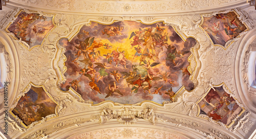 PRAGUE, CZECH REPUBLIC - OCTOBER 18, 2018: The baroque fresco of Jesus Christ in the Glory in church kostel Svaté Voršily by Jan Jakub Stevens ze Steinfelsu (1707).