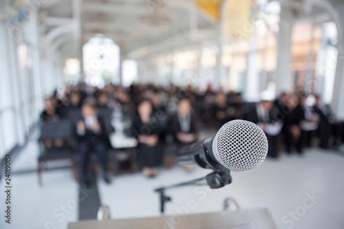 Fotografía  Microphones on the funeral podium