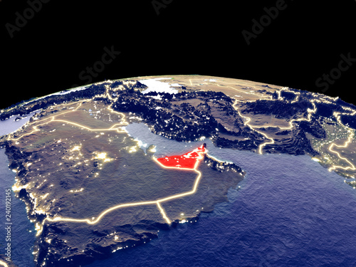 Fotografie, Obraz  United Arab Emirates from space on planet Earth at night with bright city lights