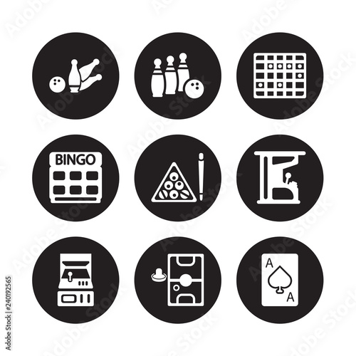 Photo 9 vector icon set : Bowling pins, Bowling, Arcade, Arcade game, Billiards, Board