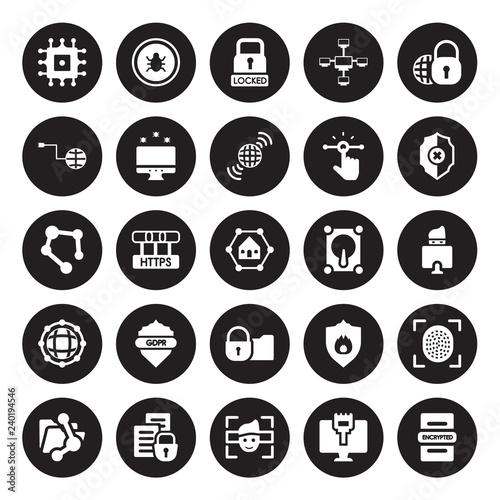 25 vector icon set : Microchip, Ethernet, Facial recognition, File