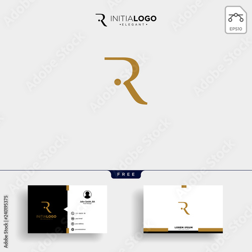 Photo  initial r luxury logo template vector illustration and business card design