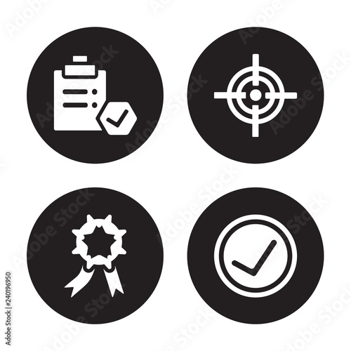 Fotografía  4 vector icon set : Approval, Achievement, Aim, Accept isolated on black backgro