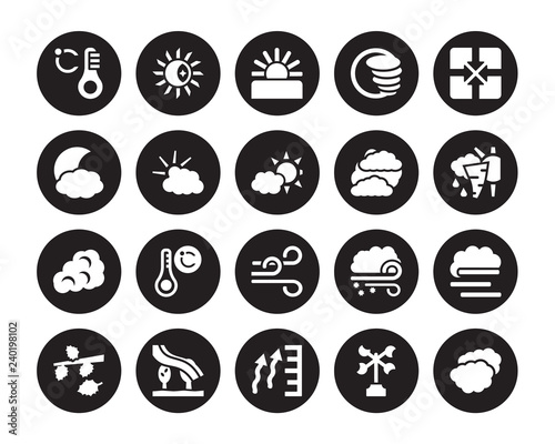 Fotografie, Obraz  20 vector icon set : degree, Anemometer, atmospheric pressure, Aurora, Autumn, c