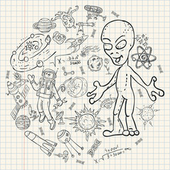 childrens drawings coloring_1_pages on space theme, science and the emergence of life on earth, in the style of Doodle