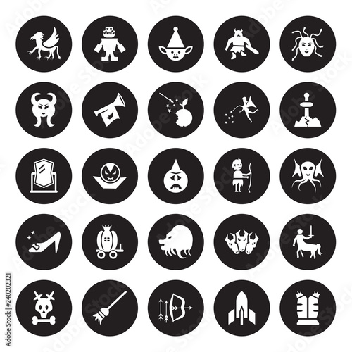 Photo 25 vector icon set : Griffin, Atomic bomb, Bow and arrow, Broomstick, Caribbean, Excalibur, Curupira, Chimera, Cinderella shoe, Faun, Goblin, Golem isolated on black background