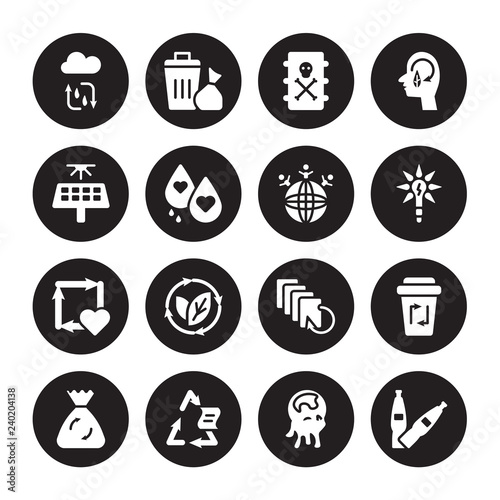 Fotografie, Obraz  16 vector icon set : Water cycle, Pollution, Recyclable, Recycle bag, bin, Plast