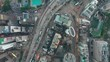 HONG KONG - MAY 2018: Aerial look-down view of Causeway Bay district, residential and office buildings and skyscrapers.