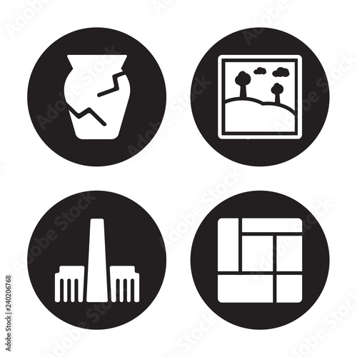 Photo  4 vector icon set : Ancient jar, Tate modern, Artwork, Mondrian isolated on blac