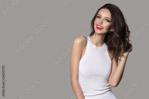 Canvas Print fashion woman in white dress laughs