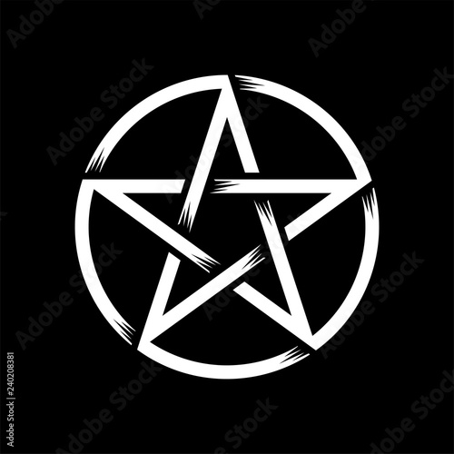 Pentagram isolated vector occultism symbol star in circle Wallpaper Mural